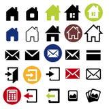 Установленные значки сети - дом, письмо, Стоковое Изображение RF
