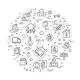 Установленные значки сети плана - недвижимость иллюстрация вектора