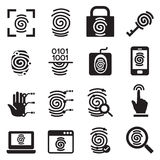 Установленные значки системы безопасности отпечатка пальцев Стоковые Изображения