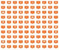Установленные значки сообщения Высок-техника оранжевые Стоковое Фото