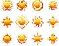Установленные значки Солнця Стоковое Изображение