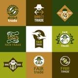 Установленные значки справедливой торговли и знаки Стоковое Фото