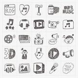 Установленные значки средств массовой информации Doodle Стоковое фото RF
