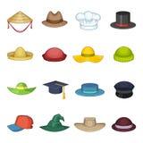 Установленные значки, стиль крышки шляпы шаржа Стоковая Фотография