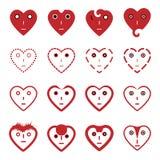 Установленные значки стороны смайлика сердца Стоковые Фотографии RF