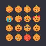 Установленные значки стороны смайлика хеллоуина Стоковые Изображения