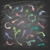 Установленные значки стрелок вектора нарисованные рукой Стоковая Фотография RF
