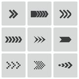 Установленные значки стрелок вектора черные Стоковые Изображения