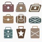 Установленные значки сумки звезды плоские Стоковые Фотографии RF