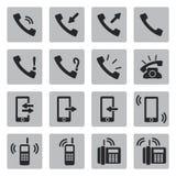 Установленные значки телефона вектора черные Стоковая Фотография RF