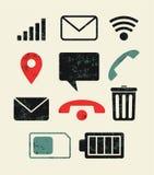 Установленные значки телефона Типографская ретро иллюстрация вектора grunge Стоковая Фотография RF
