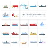 Установленные значки транспорта корабля иллюстрация штока