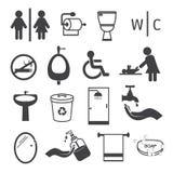 Установленные значки туалета и ванной комнаты плоские Стоковое Изображение RF