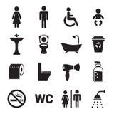 Установленные значки туалета Стоковые Изображения RF