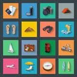 Установленные значки туризма плоские бесплатная иллюстрация