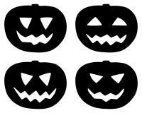 Установленные значки тыквы хеллоуина изолированными на белизне Стоковые Изображения