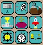Установленные значки успеха в бизнесе Стоковые Фото