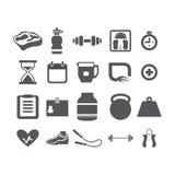 Установленные значки фитнеса и здоровья Стоковое Изображение