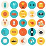 Установленные значки фитнеса и спорта плоские Стоковые Фотографии RF