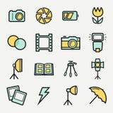 Установленные значки фото Покрашенные вектором символы плана Стоковые Изображения