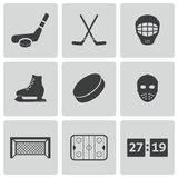 Установленные значки хоккея вектора черные Стоковое Изображение RF