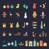 Установленные значки цвета рождества Стоковые Изображения
