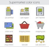 Установленные значки цвета супермаркета иллюстрация вектора