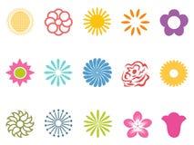 Установленные значки цветка цвета Стоковое Изображение RF
