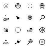 Установленные значки цели вектора черные Стоковое Изображение