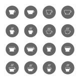 Установленные значки чашки кофе и чая Стоковое фото RF