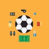 Установленные значки чемпионов футбола плоские Стоковое Изображение