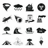 Установленные значки, черный простой стиль стихийного бедствия Стоковое Фото