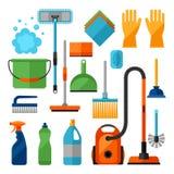 Установленные значки чистки домоустройства Изображение можно использовать на знаменах, вебсайтах, дизайнах Стоковое Изображение