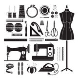 Установленные значки швейных наборов, Monochrome Стоковые Фотографии RF