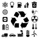Установленные значки энергии Eco. Стоковое Изображение RF