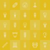 Установленные значки электрических лампочек Стоковые Фото
