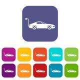Установленные значки электрического автомобиля Стоковые Фото
