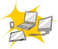 Установленные значки электронных устройств винтажные Стоковое фото RF