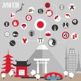 Установленные значки Японии иллюстрация вектора