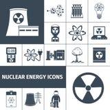 Установленные значки ядерной энергии черными Стоковые Изображения RF