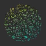 Установленные значки BBQ Стоковая Фотография