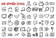 Установленные значки doodle вектора Стоковое Изображение