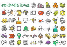 Установленные значки doodle вектора Стоковая Фотография