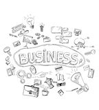 Установленные значки doodle для дела Стоковое фото RF
