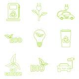 Установленные значки eco вектора зеленые Стоковое фото RF