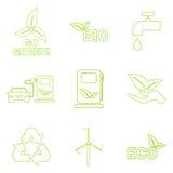 Установленные значки eco вектора зеленые Стоковые Фотографии RF