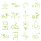 Установленные значки eco вектора зеленые Стоковое Фото