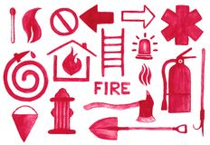 Установленные значки Firefighting Знаки акварели на Стоковое фото RF