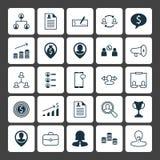 Установленные значки HR Собрание портативного магнитофона, послания, денег и других элементов Также включает символы как наличные Стоковая Фотография