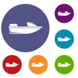 Установленные значки powerboat спорт бесплатная иллюстрация